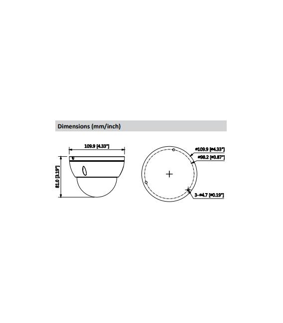 Cámara DAHUA minidomo ip de 8 megapíxeles y óptica fija