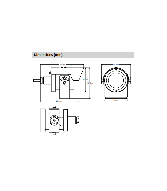 Cámara  bullet ip de 2 megapíxeles y óptica fija