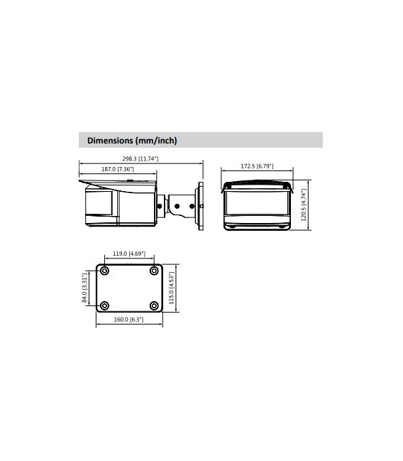 Cámara DAHUA  ip de 3 x 2 megapixeles y óptica fija