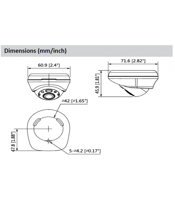 Cámara DAHUA minidomo 4 en 1 (cvi, tvi, ahd y analógico) de 2 megapíxeles y óptica fija