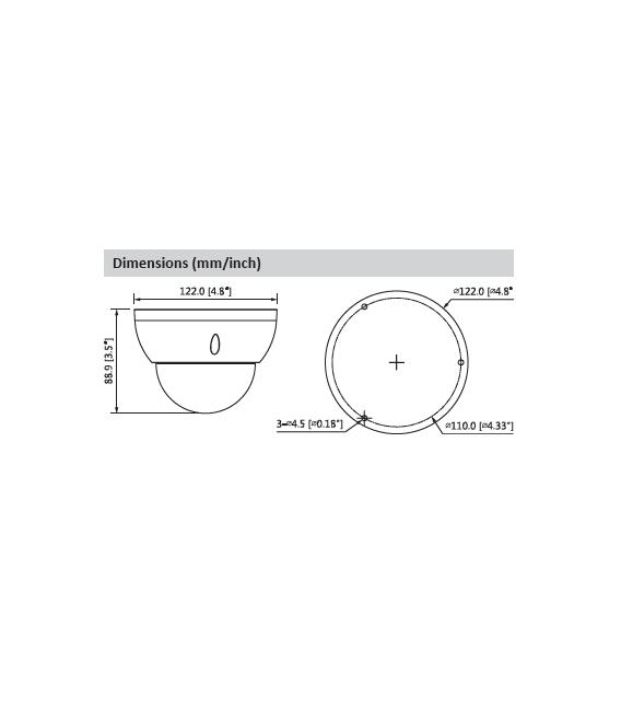 Cámara DAHUA minidomo hd-cvi de 5 megapíxeles y óptica varifocal motorizada (zoom)