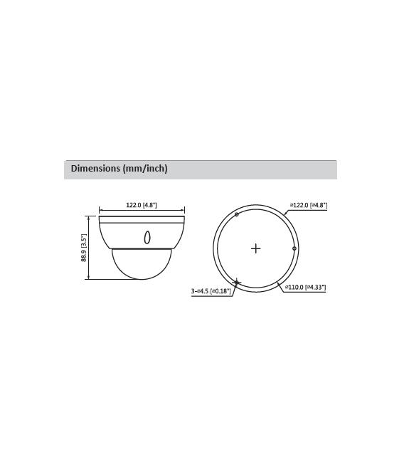 Cámara DAHUA minidomo hd-cvi de 4 megapíxeles y óptica varifocal motorizada (zoom)